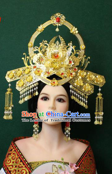 Chinese Ancient Style Hair Jewelry Accessories, Empress Hairpins, Queen Tang Dynasty Xiuhe Suit Wedding Bride Phoenix Coronet, Hair Accessories Set for Women
