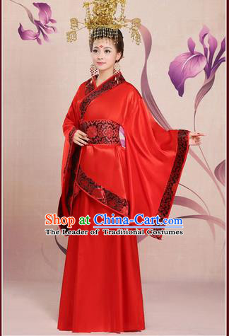 Ancient Chinese Palace Empress Costumes Complete Set, Han Dynasty Ancient Palace Red Wedding Princess Hanfu Dress Suits For Women