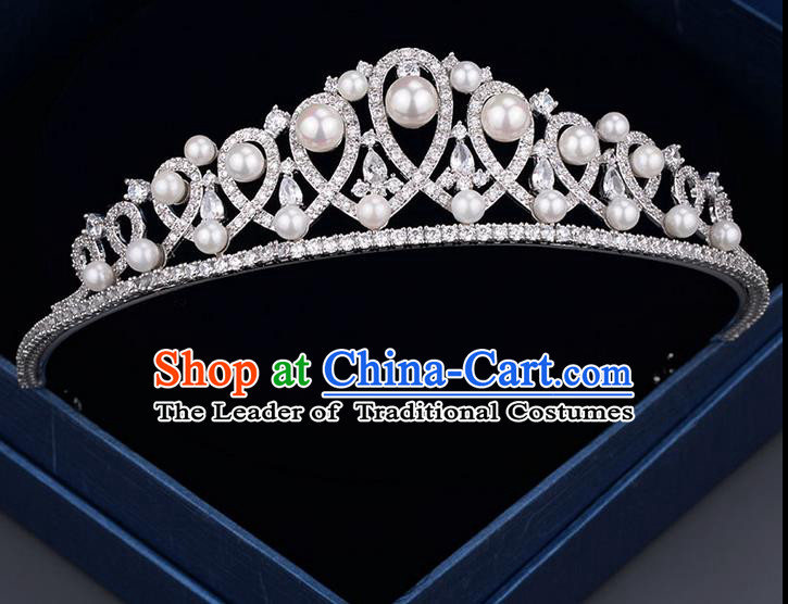 Traditional Jewelry Accessories, Princess Bride Royal Crown, Wedding Hair Accessories, Baroco Style Pearl Headwear for Women