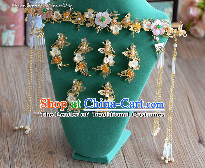 Chinese Ancient Style Hair Jewelry Accessories, Hairpins, Princess, Hanfu Xiuhe Suit Wedding Bride Hair Accessories Set for Women