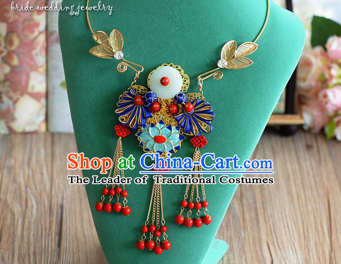 Chinese Ancient Style Hair Jewelry Accessories, Hanfu Xiuhe Suit, Wedding Bride Necklaces for Women