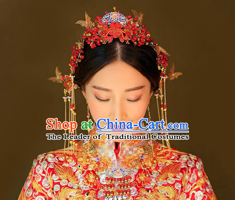 Chinese Ancient Style Hair Jewelry Accessories, Hairpins, Princess Hanfu Xiuhe Suit Wedding, Bride Hair Accessories Set for Women
