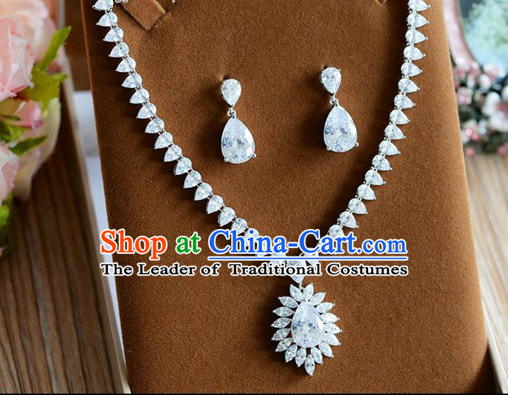 Traditional Jewelry Accessories, Princess Bride Earrings, Wedding Accessories, Baroco Style Crystal Necklace for Women