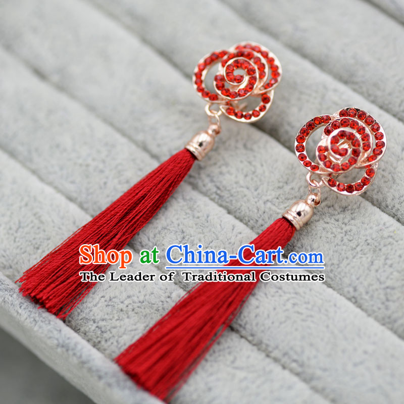 Chinese Ancient Style Accessories, Earrings, Hanfu Xiuhe Suit Wedding Bride Crystal Earrings for Women
