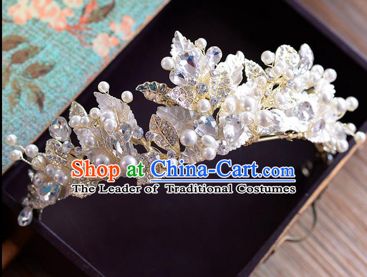 Traditional Jewelry Accessories, Palace Princess Bride Royal Crown, Wedding Hair Accessories, Baroco Style Crystal Pearl Headwear for Women