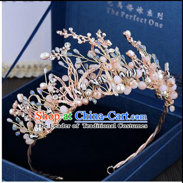 Traditional Jewelry Accessories, Palace Princess Bride Royal Crown, Wedding Hair Accessories, Baroco Style Pearl Headwear for Women