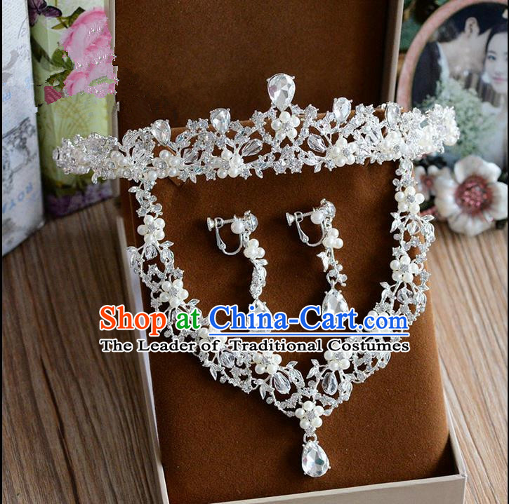 Traditional Jewelry Accessories, Palace Princess Necklace, Wedding Accessories Headwear, Bride Royal Crown, Baroco Style Crystal Earrings for Women