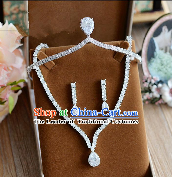 Traditional Jewelry Accessories, Palace Princess Royal Crown, Wedding Accessories Necklace, Baroco Style Crystal Earrings Set for Women