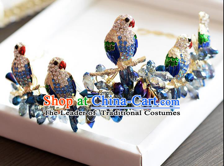 Traditional Jewelry Accessories, Princess Wedding Hair Accessories, Bride Wedding Hair Accessories, Baroco Style Crystal Birds Royal Crown for Women