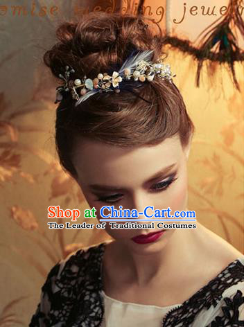 Traditional Jewelry Accessories, Princess Wedding Hair Accessories, Bride Wedding Hair Accessories, Baroco Style Feather Headwear for Women