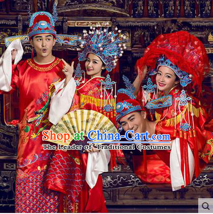 Ancient Chinese Palace Empress Emperor Wedding Costumes Complete Set, Tang Dynasty Ancient Palace Clothing, Cosplay Princess, Queen, King Wedding Dress Suits