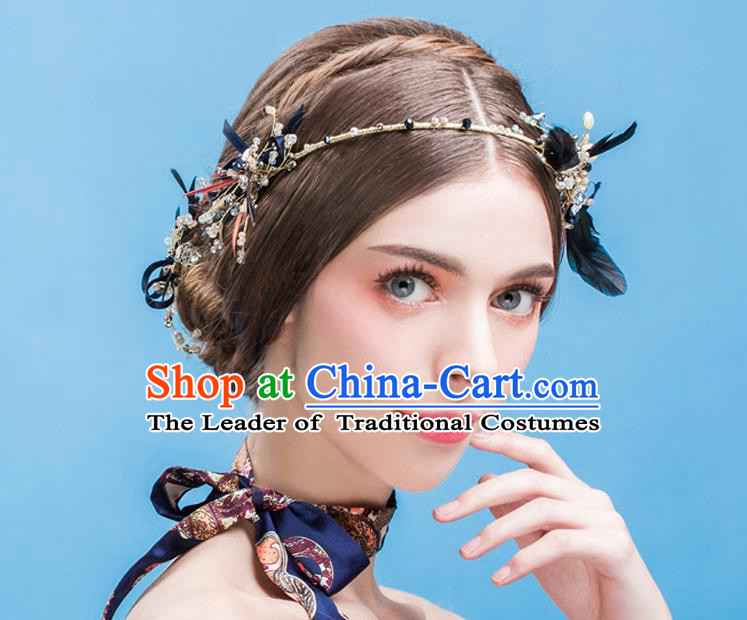 Traditional Jewelry Accessories, Princess Wedding Hair Accessories, Bride Wedding Hair Accessories, Baroco Style Crystal Feather Headwear for Women