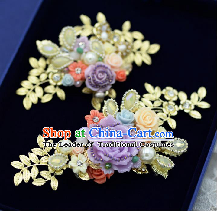 Traditional Jewelry Accessories, Princess Wedding Hair Accessories, Bride Wedding Hair Accessories, Baroco Style Crystal Flowers Headwear for Women