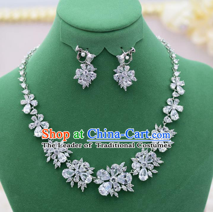 Traditional Wedding Jewelry Accessories, Palace Princess Bride Accessories, Engagement Necklaces, Wedding Earring, Baroco Style Crystal Necklace Set for Women