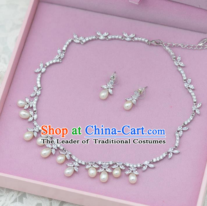Traditional Wedding Jewelry Accessories, Palace Princess Bride Accessories, Engagement Necklaces, Wedding Earring, Baroco Style Crystal Pearl Necklace Set for Women