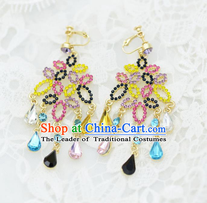 Traditional Wedding Jewelry Accessories, Palace Princess Bride Accessories, Wedding Earring, Baroco Style Long Earrings for Women