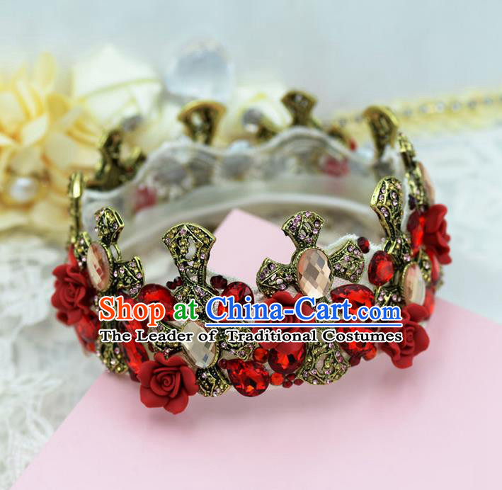 Traditional Jewelry Accessories, Palace Princess Bride Royal Crown, Queen Engagement Royal Crown, Wedding Hair Accessories, Baroco Style Crystal Headwear for Women