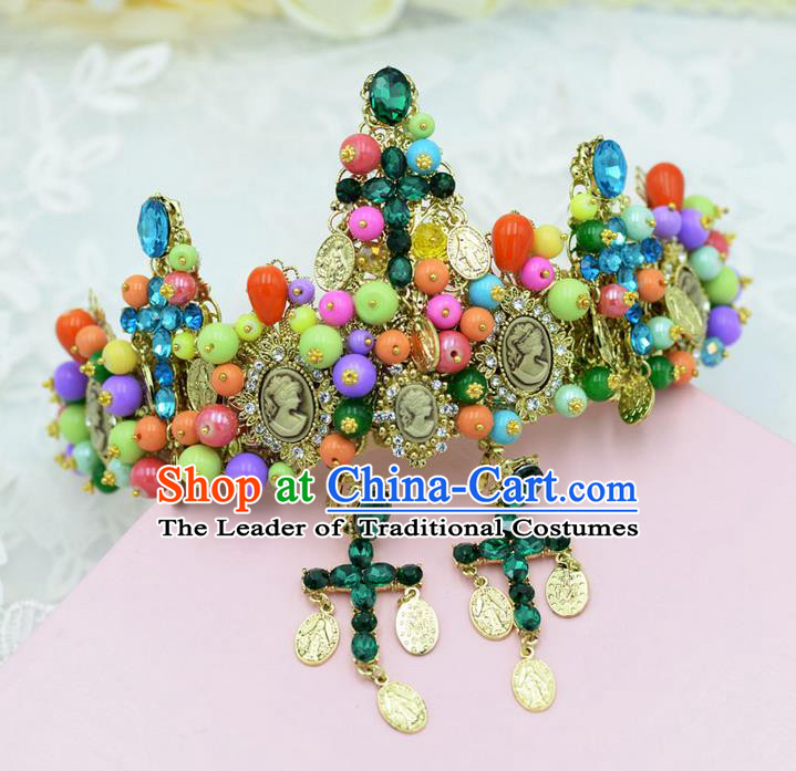 Traditional Jewelry Accessories, Palace Princess Bride Royal Crown, Queen Engagement Royal Crown, Wedding Hair Accessories, Baroco Style Color Crystal Headwear for Women