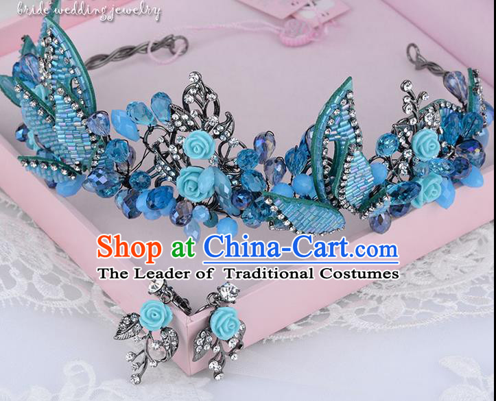 Traditional Jewelry Accessories, Palace Princess Bride Royal Crown, Engagement Royal Crown, Wedding Hair Accessories, Baroco Style Crystal Blue Headwear for Women