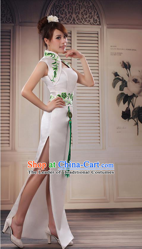 Ancient Chinese Wedding Costumes Complete Set, Unique Design Fish Tail Wedding Cheongsam for Brides
