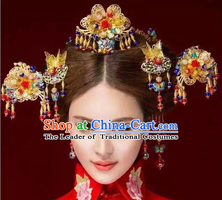 Chinese Ancient Style Hair Jewelry Accessories, Hairpins, Hanfu Xiuhe Suits Wedding Bride Headwear, Traditional China Cloisonn Headdress, Imperial Empress Handmade Hair Fascinators for Women
