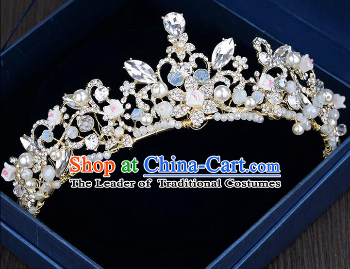 Traditional Jewelry Accessories, Palace Princess Bride Royal Crown, Imperial Royal Crown, Wedding Hair Accessories, Baroco Style Crystal Flowers Headwear for Women