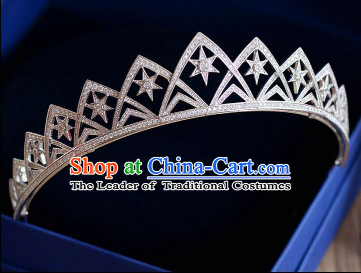 Traditional Jewelry Accessories, Palace Queen Bride Royal Crown, Imperial Royal Crown, Wedding Hair Accessories, Baroco Style Crystal Zircon Headwear for Women