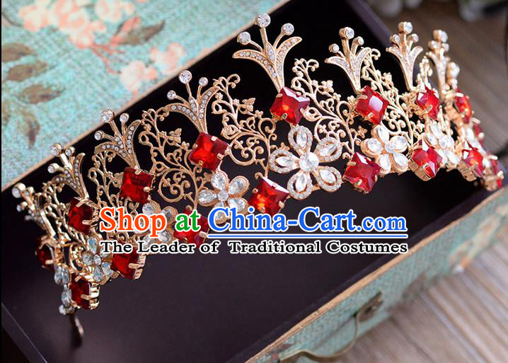Traditional Jewelry Accessories, Palace Queen Bride Royal Crown, Imperial Royal Crown, Wedding Hair Accessories, Baroco Style Crystal Headwear for Women