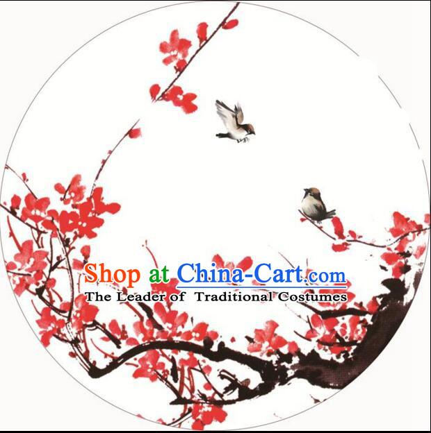 Chinese Classic Handmade Oiled Paper Umbrella Parasol Sunshade Dancing Plum Bird