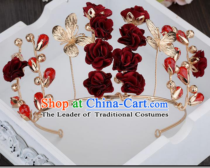 Traditional Jewelry Accessories, Princess Hair Accessories, Bride Wedding Hair Accessories, Headwear, Baroco Style Flowers Royal Crown for Women