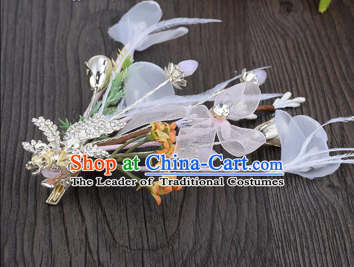 Traditional Jewelry Accessories, Princess Hair Accessories, Bride Wedding Hair Accessories, Headwear, Baroco Style Crystal Flowers Hair Claw for Women