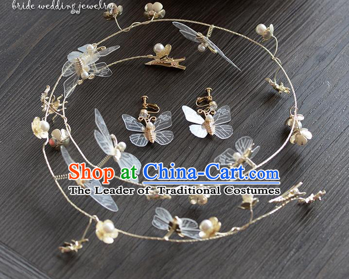 Traditional Jewelry Accessories, Princess Hair Accessories, Bride Wedding Hair Accessories, Headwear, Baroco Style Crystal Butterfly Hair Claw for Women