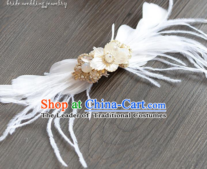 Traditional Jewelry Accessories, Princess Hair Accessories, Bride Wedding Hair Accessories, Headwear, Baroco Style Feather Hair Claw for Women