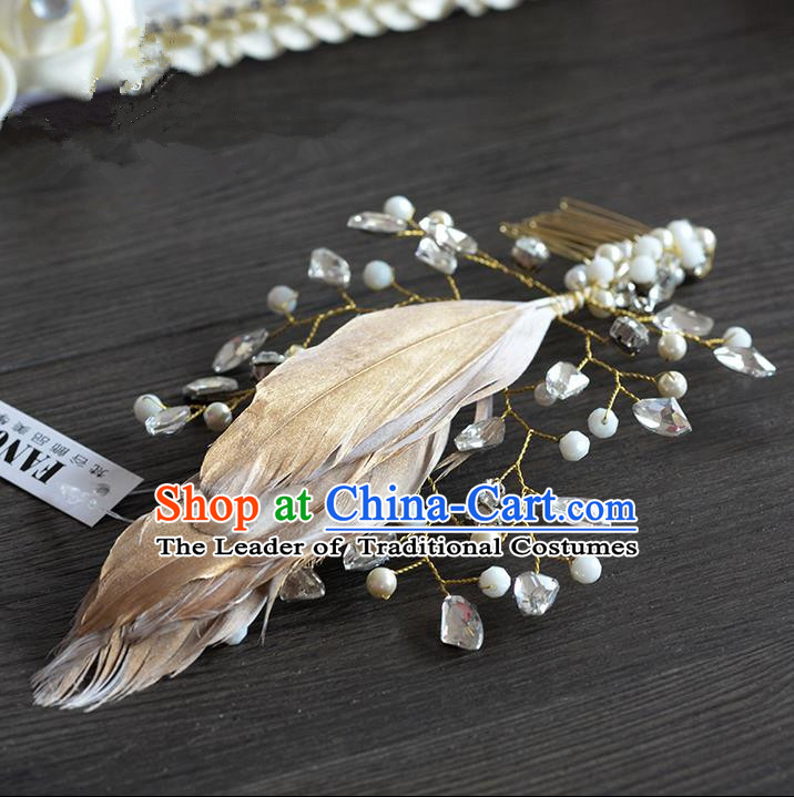 Traditional Jewelry Accessories, Princess Hair Accessories, Bride Wedding Hair Accessories, Headwear, Baroco Style Crystal Feather Hair Claw for Women