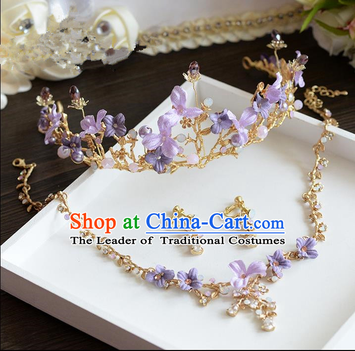 Traditional Jewelry Accessories, Princess Hair Accessories, Royal Crown, Bride Wedding Hair Accessories, Earrings, Baroco Style Necklace Set  for Women
