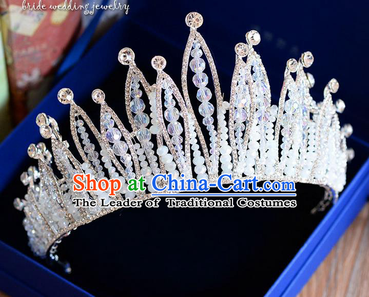 Traditional Jewelry Accessories, Palace Princess Bride Royal Crown, Engagement Retro Royal Crown, Wedding Hair Accessories, Baroco Style Crystal Pearl Headwear for Women