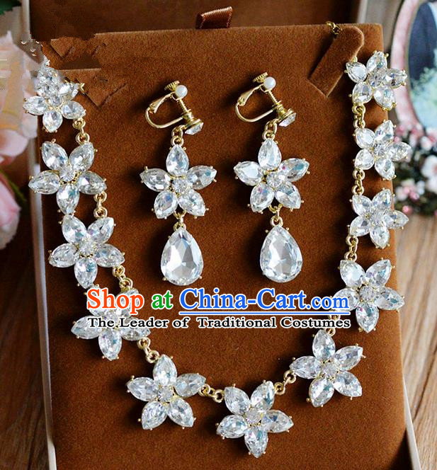 Traditional Jewelry Accessories, Palace Princess Wedding Accessories, Baroco Style Crystal Earrings and Necklace Set for Women