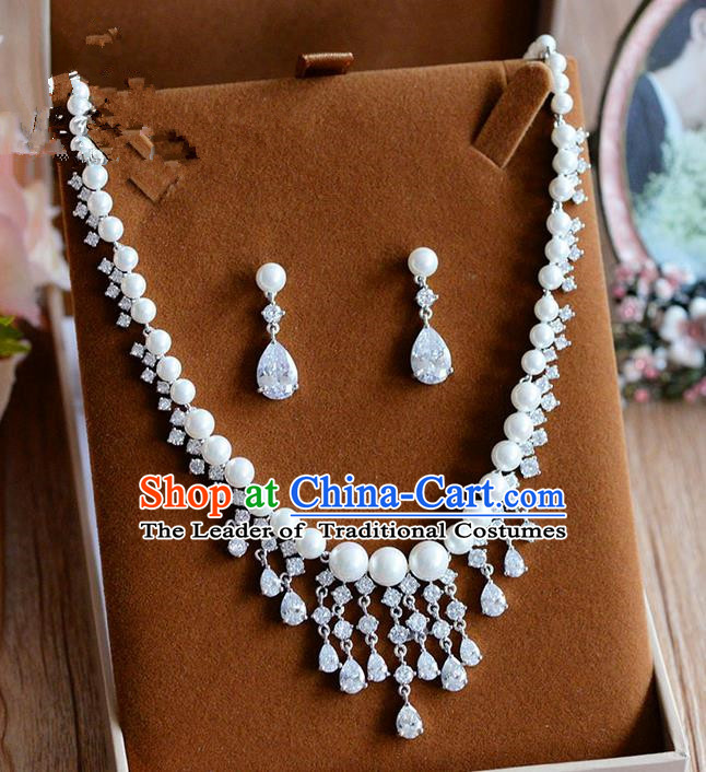 Traditional Jewelry Accessories, Palace Princess Wedding Accessories, Baroco Style Crystal Zircon Earrings and Necklace Set for Women
