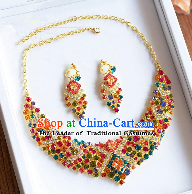 Traditional Jewelry Accessories, Palace Princess Wedding Accessories, Baroco Style Colorful Crystal Earrings and Necklace Set for Women
