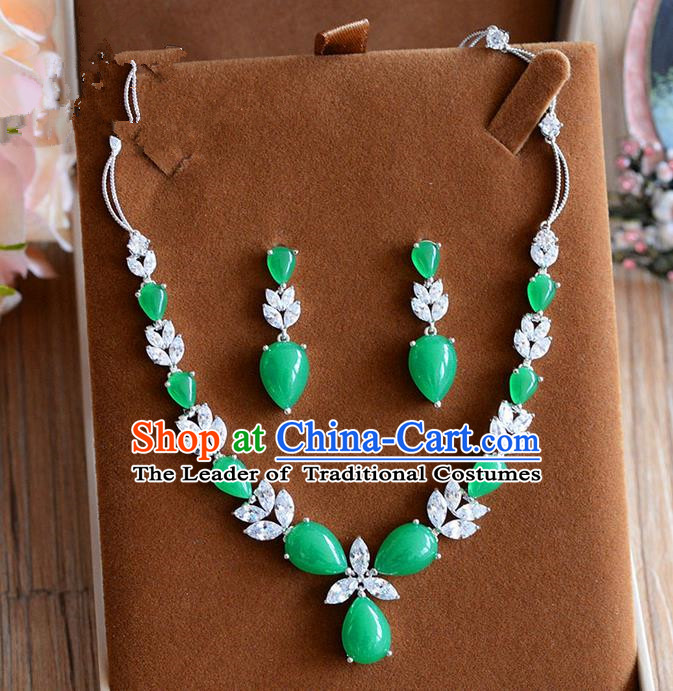 Traditional Jewelry Accessories, Palace Princess Wedding Accessories, Baroco Style Colorful Emerald Earrings and Necklace Set for Women