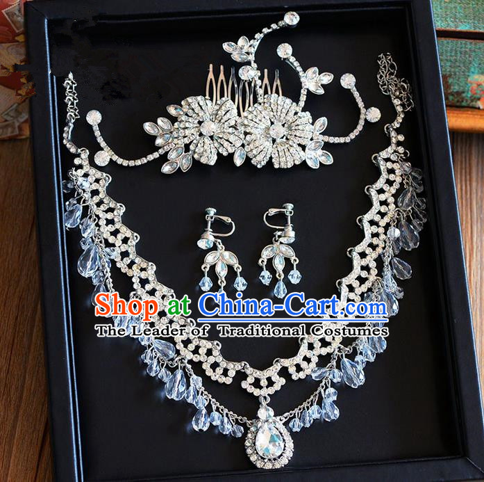 Traditional Jewelry Accessories, Palace Princess Wedding Hair Accessories, Hair Claws, Baroco Style Crystal Earrings and Necklace Set for Women