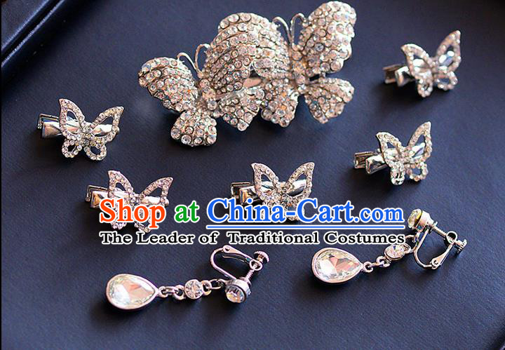 Traditional Jewelry Accessories, Palace Princess Wedding Hair Accessories, Hair Claws, Baroco Style Crystal Earrings Set for Women