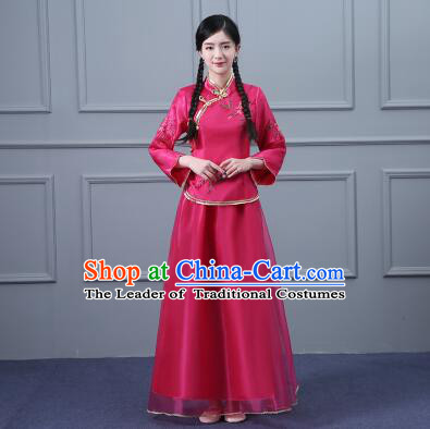 Chinese Min Guo Time Dress Traditional Clothes Female Women Clothing Nobel Lady Girl Dancing Stage