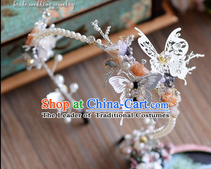 Traditional Jewelry Accessories, Princess Wedding Hair Accessories, Bride Wedding Hair Accessories, Headwear, Baroco Style Handmade Pearl Butterfly Hair Claw for Women