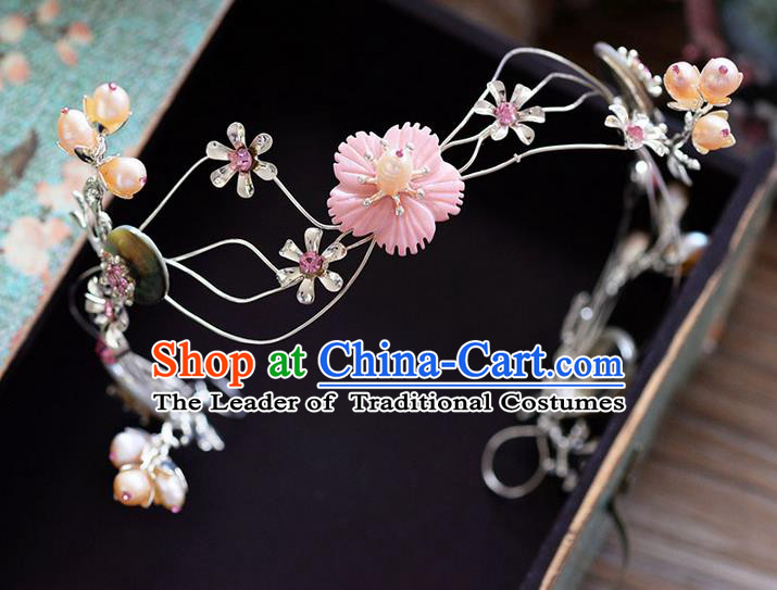 Traditional Jewelry Accessories, Princess Wedding Hair Accessories, Bride Wedding Hair Accessories, Headwear, Baroco Style Handmade Crystal Flowers Hair Claw for Women