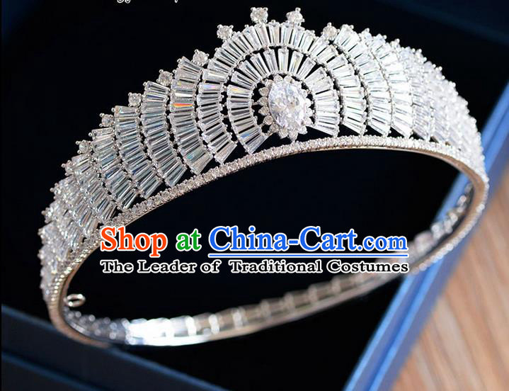 Traditional Jewelry Accessories, Palace Queen Bride Royal Crown, Engagement Royal Crown, Wedding Hair Accessories, Baroco Style Crystal Zircon Headwear for Women