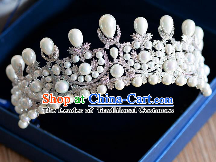 Traditional Jewelry Accessories, Palace Princess Bride Royal Crown, Engagement Royal Crown, Wedding Hair Accessories, Baroco Style Crystal Pearl Zircon Headwear for Women