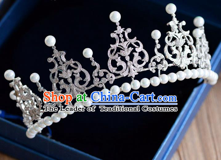 Traditional Jewelry Accessories, Palace Princess Bride Royal Crown, Engagement Royal Crown, Wedding Hair Accessories, Baroco Style Pearl Zircon Headwear for Women