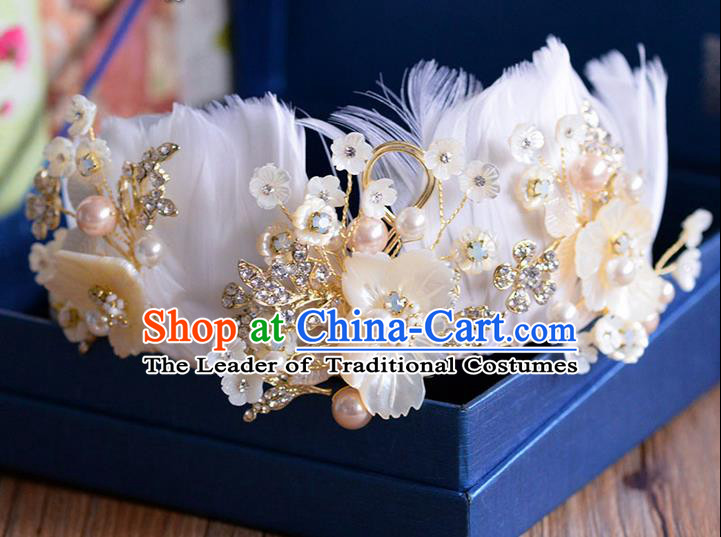 Traditional Jewelry Accessories, Palace Princess Bride Royal Crown, Engagement Royal Crown, Wedding Hair Accessories, Baroco Style Crystal Feather Pearl Headwear for Women