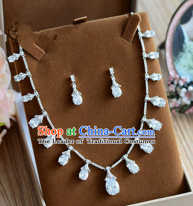 Traditional Jewelry Accessories, Palace Princess Earrings, Engagement Accessories Collar, Earrings, Necklace, Wedding Accessories, Baroco Style Crystal Zircon Headwear Set for Women